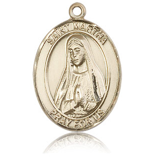14kt Yellow Gold 1in St Martha Medal