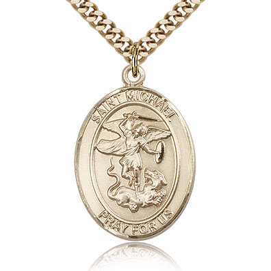 Gold Filled 1in St Michael Medal & 24in Chain