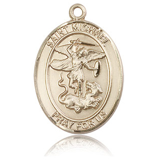 14kt Yellow Gold 1in Oval St Michael Pray For Us Medal