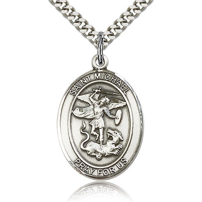 Sterling Silver 1in Oval St Michael Medal & 24in Chain
