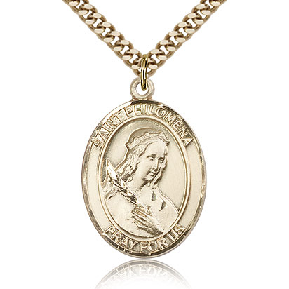 Gold Filled 1in St Philomena Medal & 24in Chain