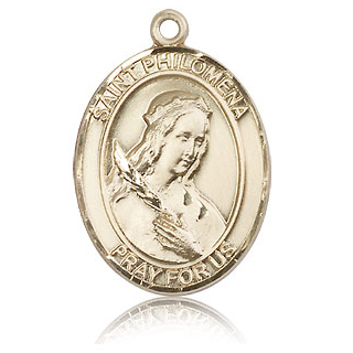 14kt Yellow Gold 1in St Philomena Medal