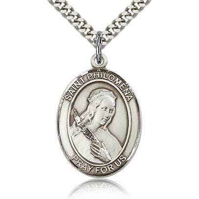 Sterling Silver 1in St Philomena Medal & 24in Chain
