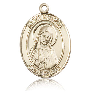 14kt Yellow Gold 1in St Monica Medal