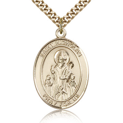 Gold Filled 1in St Nicholas Medal & 24in Chain