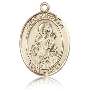 14kt Yellow Gold 1in St Nicholas Medal