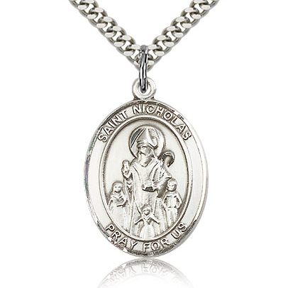 Sterling Silver 1in St Nicholas Medal & 24in Chain