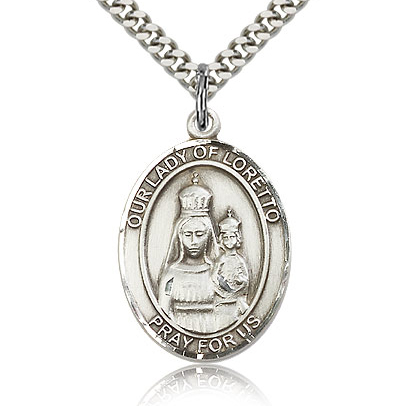 Sterling Silver 1in Lady of Loretto Medal & 24in Chain