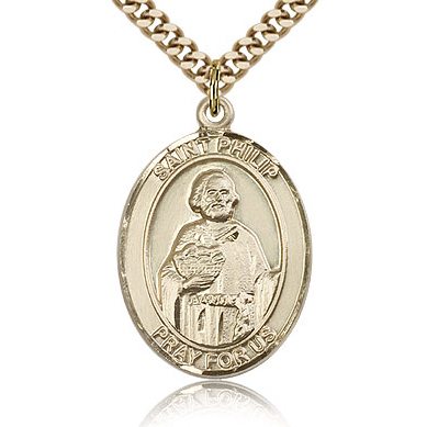 Gold Filled 1in St Philip the Apostle Medal & 24in Chain