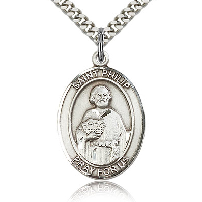 Sterling Silver 1in St Philip the Apostle Medal & 24in Chain