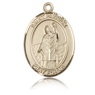 14kt Yellow Gold 1in St Patrick Medal