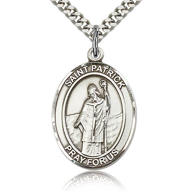 Sterling Silver 1in St Patrick Medal & 24in Chain