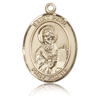 14kt Yellow Gold 1in St Paul the Apostle Medal