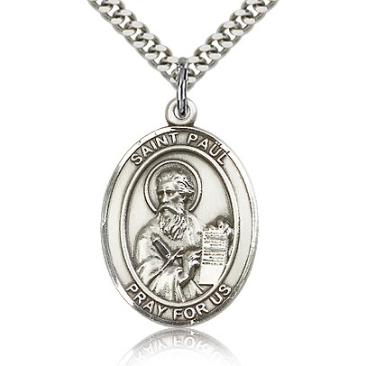 Sterling Silver 1in St Paul the Apostle Medal & 24in Chain