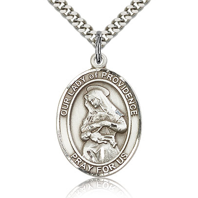 Sterling Silver 1in Lady of Providence Medal & 24in Chain