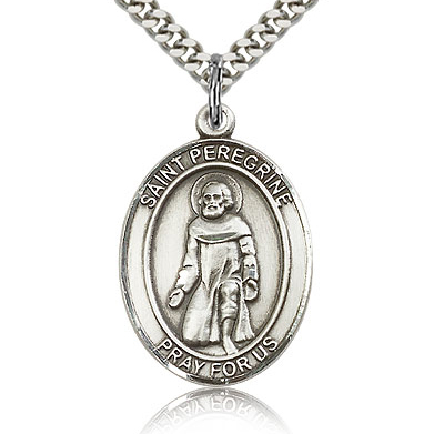 Sterling Silver 1in St Peregrine Medal & 24in Chain