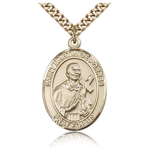 Gold Filled 1in St Martin de Porres Medal & 24in Chain