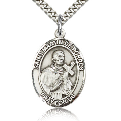 Sterling Silver 1in St Martin de Porres Medal & 24in Chain