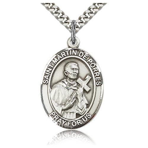 Sterling Silver 1in St Martin de Porres Medal & 24in Chain