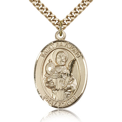Gold Filled 1in St Raymond Medal & 24in Chain