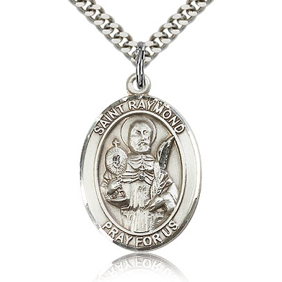 Sterling Silver 1in St Raymond Medal & 24in Chain