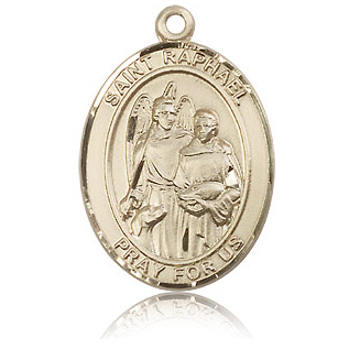 14kt Yellow Gold 1in St Raphael Medal