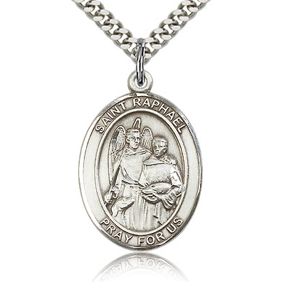 Sterling Silver 1in St Raphael Medal & 24in Chain