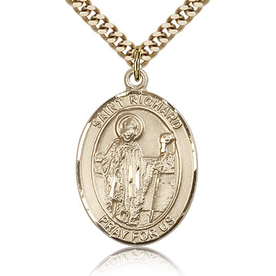 Gold Filled 1in St Richard Medal & 24in Chain