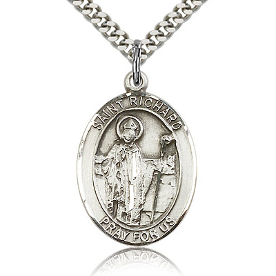 Sterling Silver 1in St Richard Medal & 24in Chain