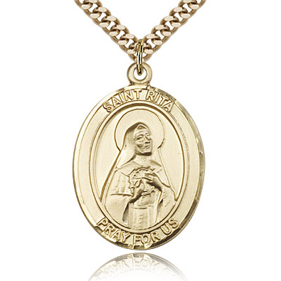 Gold Filled 1in St Rita Medal & 24in Chain