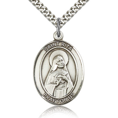 Sterling Silver 1in St Rita Medal & 24in Chain