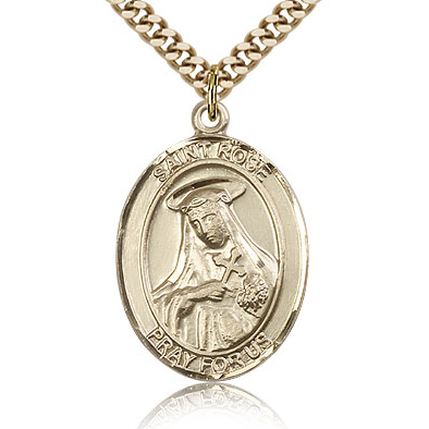 Gold Filled 1in St Rose Medal & 24in Chain