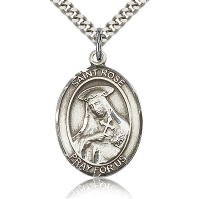 Sterling Silver 1in St Rose Medal & 24in Chain