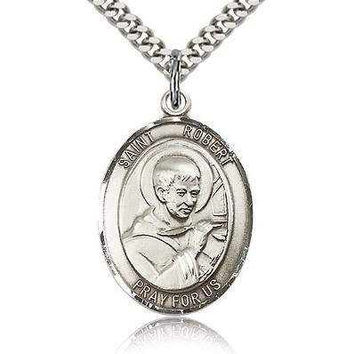 Sterling Silver 1in St Robert Bellarmine Medal & 24in Chain