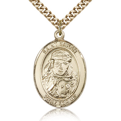 Gold Filled 1in St Sarah Medal & 24in Chain