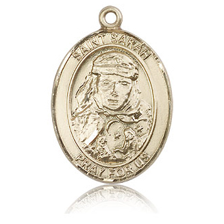 14kt Yellow Gold 1in St Sarah Medal