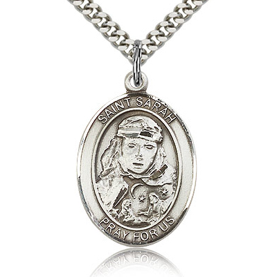 Sterling Silver 1in St Sarah Medal & 24in Chain