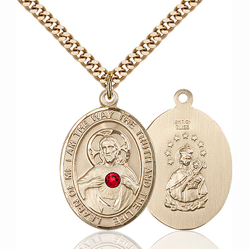 Gold Filled 1in Oval Scapular Medal with 3mm Ruby Bead & 24in Chain