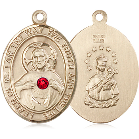 14kt Yellow Gold 1in Oval Scapular Medal with 3mm Ruby Bead