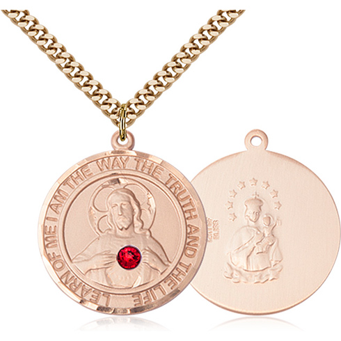 Gold Filled 1in Round Scapular Medal with 3mm Ruby Bead & 24in Chain