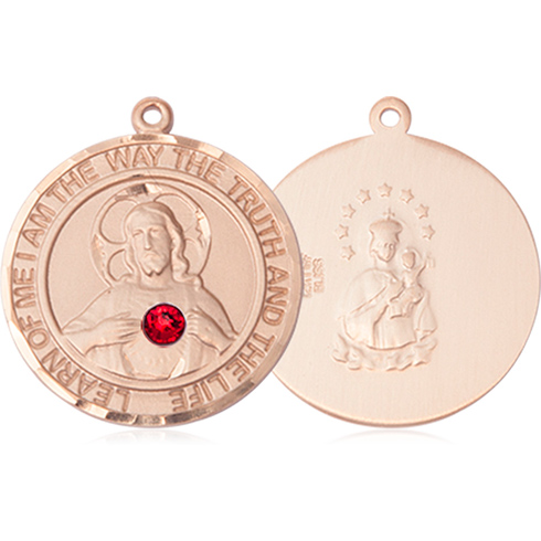 14kt Yellow Gold 1in Round Scapular Medal with 3mm Ruby Bead