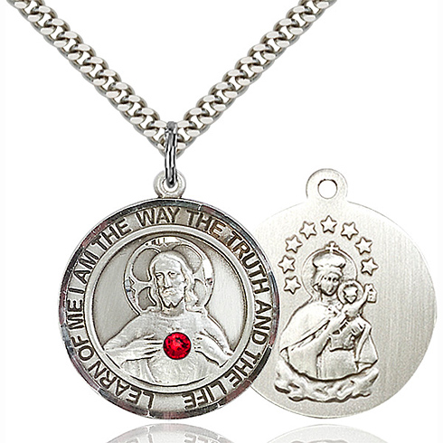 Sterling Silver 1in Round Scapular Medal with Ruby Bead & 24in Chain