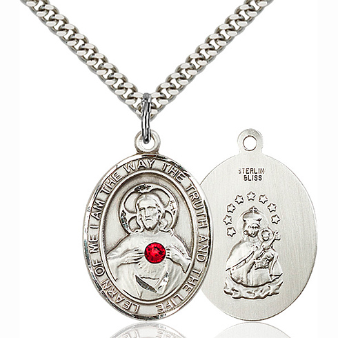 Sterling Silver 1in Scapular Medal with 3mm Ruby Bead & 24in Chain