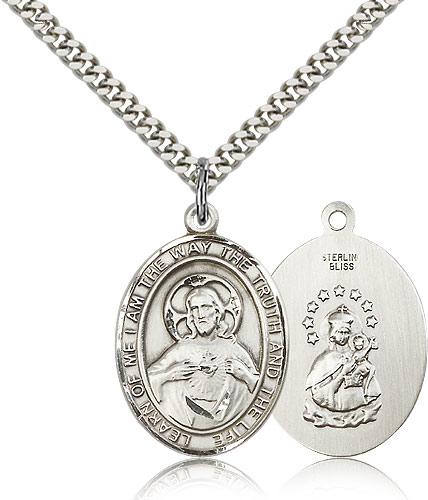 Sterling Silver 1in Scapular Medal & 24in Chain