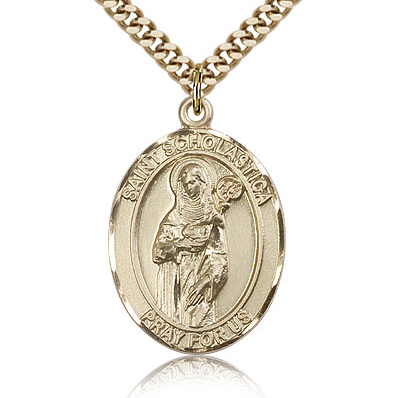 Gold Filled 1in St Scholastica Medal & 24in Chain