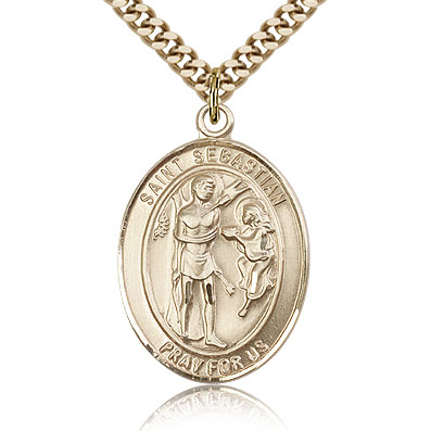 Gold Filled 1in Oval St Sebastian Medal & 24in Chain