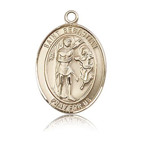 14kt Yellow Gold 1in St Sebastian Medal