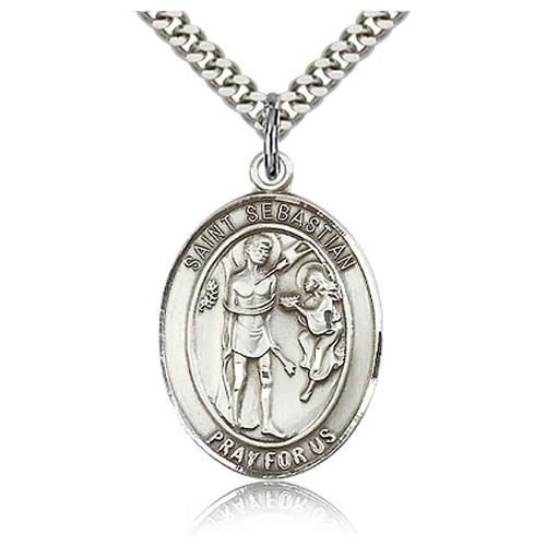 Sterling Silver 1in St Sebastian Medal & 24in Chain