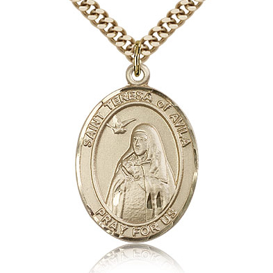 Gold Filled 1in St Teresa of Avila Medal & 24in Chain