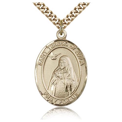 Gold Filled 1in St Teresa of Avila Medal & 24in Chain